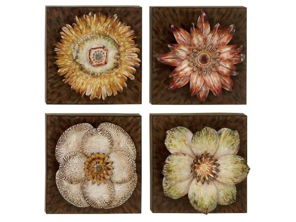Four PCS Flowers Metal Wall Art Decor - Metal Wall Decor ...