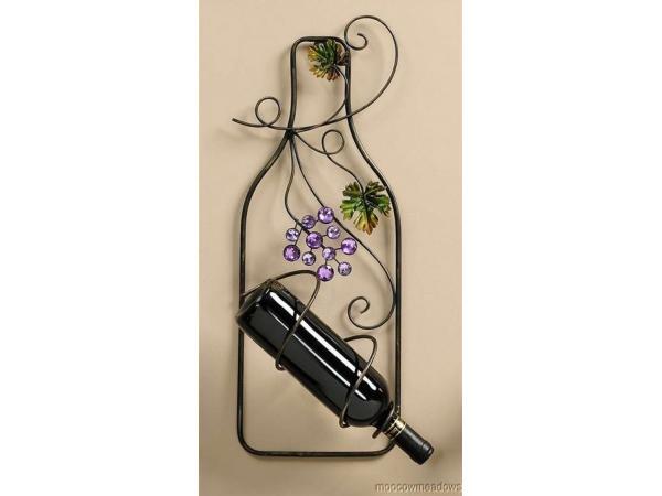 Embellished Bottle Shaped Wine Holder - Wall Decoration - Wine ...