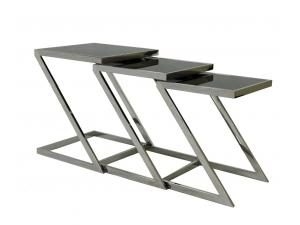 Stainless Steel Nesting End Table with Glass Top