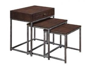 one Drawer Table with Nested Tables Dark Brown