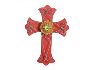 Red Wooden Wall Cross with Intricate Blue Metal Work Design