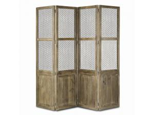 Antique Wood with Metal Folding Screen