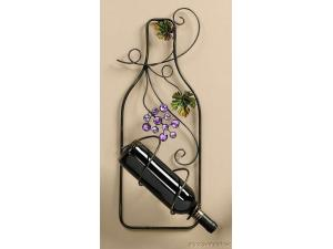 Embellished Bottle Shaped Wine Holder - Wall Decoration